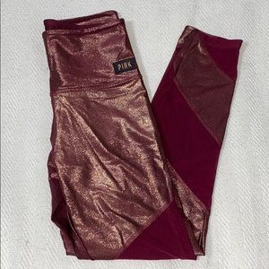 Pink Victoria's Secret Glitter/ Mesh Leggings